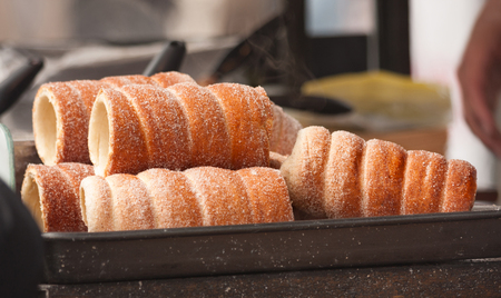Trdelnik - traditional Czech hot sweet pastry sold in the streets of Prague