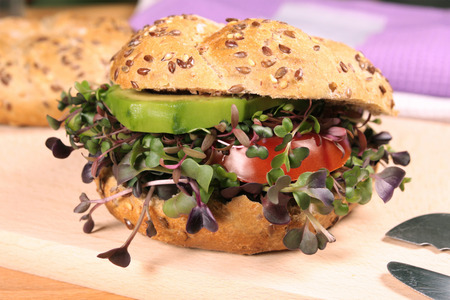 Vegetarian burger with fresh microgreens