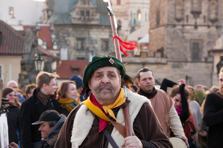 PRAGUE, CZECH REPUBLIC - APRIL 30, 2017: Participants of a costumed parade in the streets of Mala Strana on witch burning night (carodejnice)