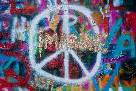 PRAGUE, CZECH REPUBLIC - APRIL 24, 2017: John Lennon wall