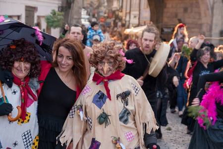 PRAGUE, CZECH REPUBLIC - APRIL 30, 2017: Participants of a costumed parade in the streets of Prague on witch burning night (carodejnice)