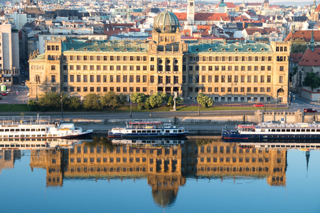 famous industries: PRAGUE, CZECH REPUBLIC - MAY 28, 2017: The building of the Czech Ministry of Industry and Trade Editorial