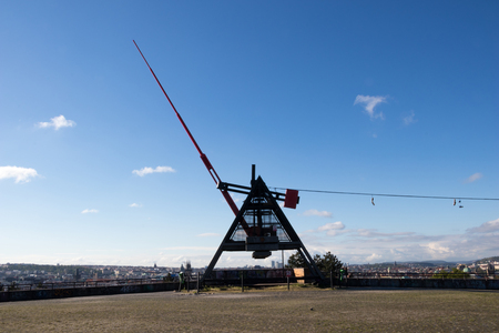 pendulum: PRAGUE, CZECH REPUBLIC - MAY 9, 2017: Giant metronome in the Letna park above the city