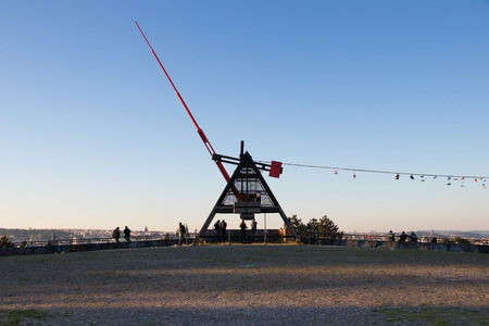 PRAGUE, CZECH REPUBLIC - MAY 28, 2017: Giant metronome in the Letna park above the city Editorial