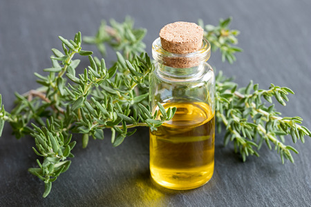 A bottle of essential oil with fresh thyme leaves on a dark background Stock Photo