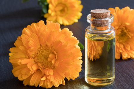 A transparent bottle of calendula essential oil with calendula flowers on a dark background