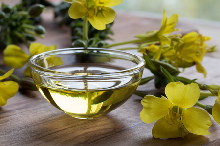 Evening primrose oil in a glass bowl with evening primrose flowers in the background