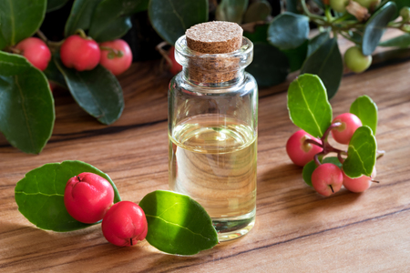 A bottle of wintergreen essential oil with fresh wintergreen twigs on a wooden table