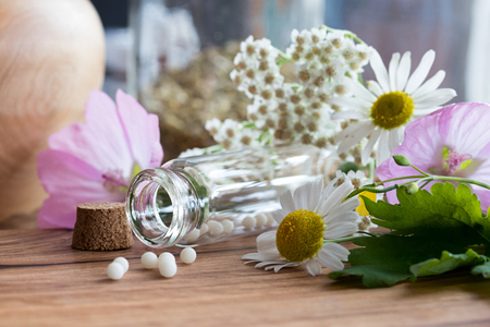 A bottle of homeopathic globules with chamomile, yarrow, greater celandine and other flowers in the background Stock Photo