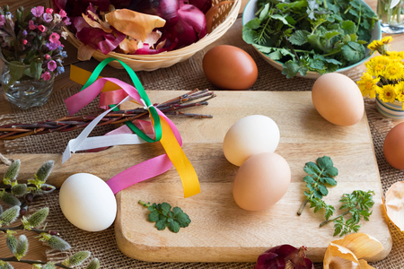 Preparation of Easter eggs for dying with onion peels: eggs, onion peels, and fresh green leaves on a table, with willow catkins, coltsfoot and lungwort flowers in the background  Stock Photo