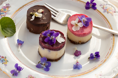 Raw vegan desserts on a plate with fresh violet and lungwort flowers