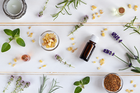 Bottles of essential oil with frankincense, lavender, thyme and other fresh herbs Stock Photo