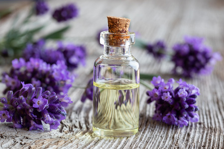 A bottle of essential oil with fresh blooming lavender twigs Standard-Bild