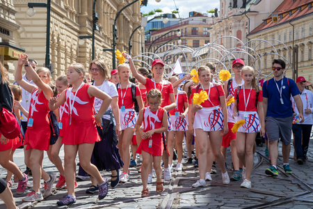 PRAGUE, CZECH REPUBLIC - JULY 1, 2018: Girls parading at Sokolsky Slet, a once-every-six-years gathering of the Sokol movement - a Czech sports association