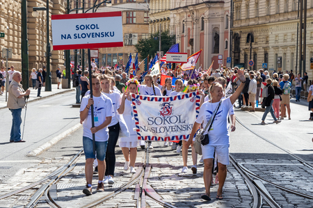PRAGUE, CZECH REPUBLIC - JULY 1, 2018: Slovak visitors parading at Sokolsky Slet, a once-every-six-years gathering of the Sokol movement - a Czech sports association