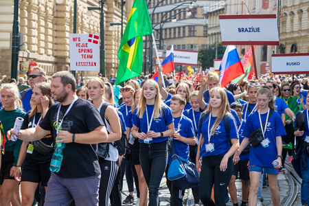 PRAGUE, CZECH REPUBLIC - JULY 1, 2018: Foreign visitors parading at Sokolsky Slet, a once-every-six-years gathering of the Sokol movement - a Czech sports association