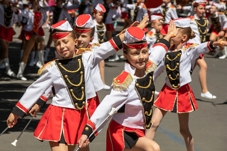 PRAGUE, CZECH REPUBLIC - JULY 1, 2018: Junior majorettes parading at Sokolsky Slet, a once-every-six-years gathering of the Sokol movement - a Czech sports association
