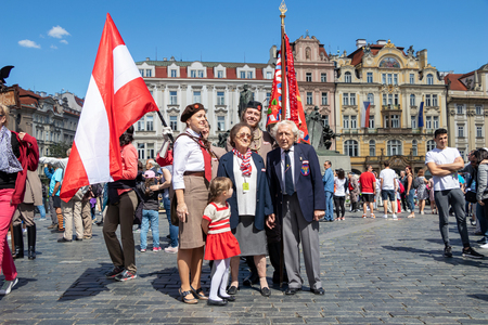 PRAGUE, CZECH REPUBLIC - JULY 1, 2018: Austrian visitors at Sokolsky Slet, a once-every-six-years gathering of the Sokol movement - a Czech sports association