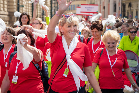 PRAGUE, CZECH REPUBLIC - JULY 1, 2018: Women parading at Sokolsky Slet, a once-every-six-years gathering of the Sokol movement - a Czech sports association