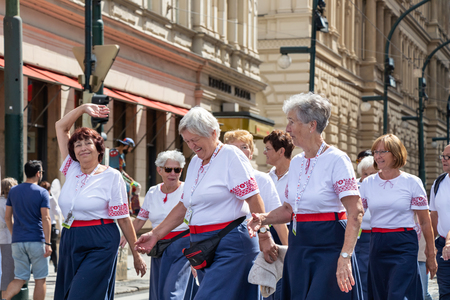 PRAGUE, CZECH REPUBLIC - JULY 1, 2018: Women parading at Sokolsky Slet, a once-every-six-years gathering of the Sokol movement - a Czech sports association