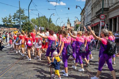PRAGUE, CZECH REPUBLIC - JULY 1, 2018: People parading at Sokolsky Slet, a once-every-six-years gathering of the Sokol movement - a Czech sports association