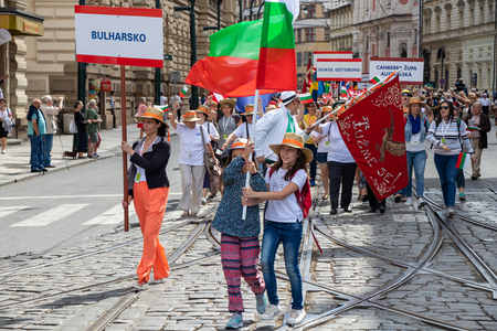 PRAGUE, CZECH REPUBLIC - JULY 1, 2018: Bulgarian visitors parading at Sokolsky Slet, a once-every-six-years gathering of the Sokol movement - a Czech sports association 新聞圖片