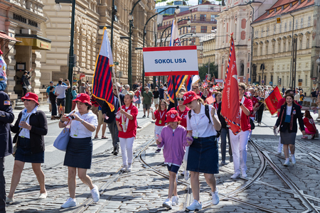 PRAGUE, CZECH REPUBLIC - JULY 1, 2018: American visitors parading at Sokolsky Slet, a once-every-six-years gathering of the Sokol movement - a Czech sports association