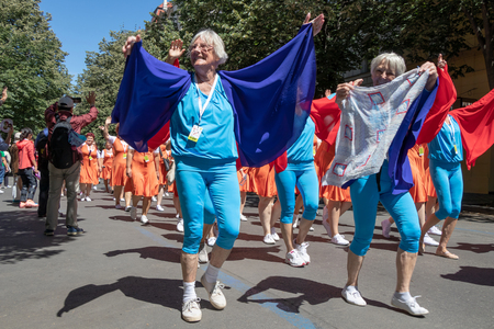 PRAGUE, CZECH REPUBLIC - JULY 1, 2018: Senior women parading at Sokolsky Slet, a once-every-six-years gathering of the Sokol movement - a Czech sports association