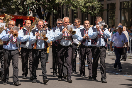 PRAGUE, CZECH REPUBLIC - JULY 1, 2018: Musicians parading at Sokolsky Slet, a once-every-six-years gathering of the Sokol movement - a Czech sports association