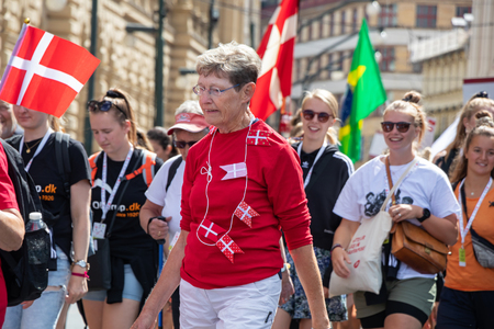 PRAGUE, CZECH REPUBLIC - JULY 1, 2018: Danish visitors parading at Sokolsky Slet, a once-every-six-years gathering of the Sokol movement - a Czech sports association