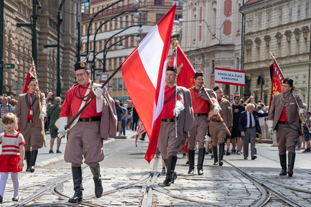 PRAGUE, CZECH REPUBLIC - JULY 1, 2018: Austrian visitors parading at Sokolsky Slet, a once-every-six-years gathering of the Sokol movement - a Czech sports association
