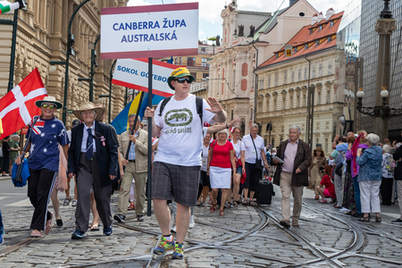 PRAGUE, CZECH REPUBLIC - JULY 1, 2018: Australian visitors parading at Sokolsky Slet, a once-every-six-years gathering of the Sokol movement - a Czech sports association
