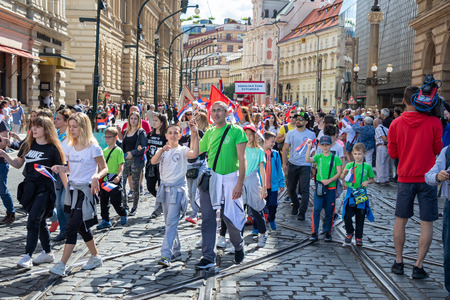 PRAGUE, CZECH REPUBLIC - JULY 1, 2018: People parading at Sokolsky Slet, a once-every-six-years gathering of the Sokol movement - a Czech sports association