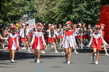 PRAGUE, CZECH REPUBLIC - JULY 1, 2018: Majorettes parading at Sokolsky Slet, a once-every-six-years gathering of the Sokol movement - a Czech sports association