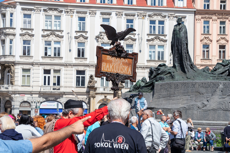 PRAGUE, CZECH REPUBLIC - JULY 1, 2018: Visitors from Vienna at Sokolsky Slet, a once-every-six-years gathering of the Sokol movement - a Czech sports association 新聞圖片