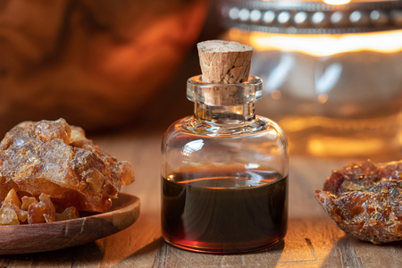 A bottle of myrrh essential oil and resin Stock fotó