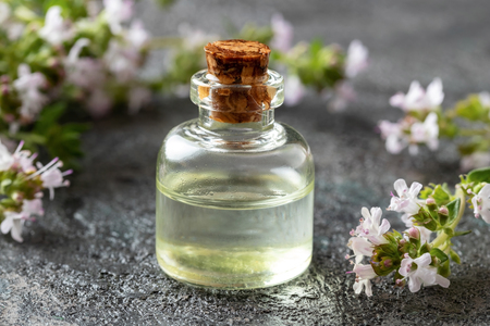 A bottle of essential oil with blooming thyme on a dark background
