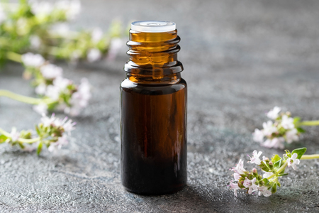 A bottle of essential oil with fresh blooming thyme Reklamní fotografie