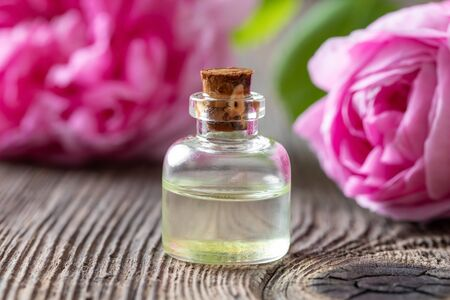 A bottle of essential oil with fresh rose de mai flowers in the background