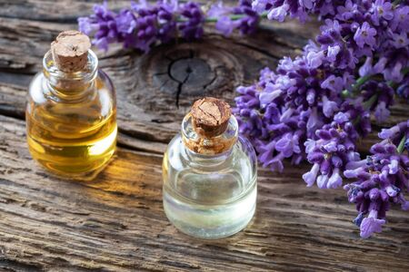 Bottles of essential oil with fresh blooming lavender twigs Reklamní fotografie