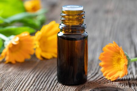 A bottle of essential oil with fresh calendula flowers Reklamní fotografie