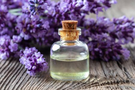 A bottle of essential oil with fresh blooming lavender twigs Reklamní fotografie