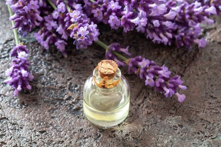 A bottle of essential oil with fresh blooming lavender Reklamní fotografie