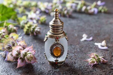A beautiful bottle of essential oil with clary sage twigs Zdjęcie Seryjne