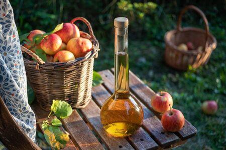 A bottle of apple cider vinegar on a chair, outdoors Stok Fotoğraf