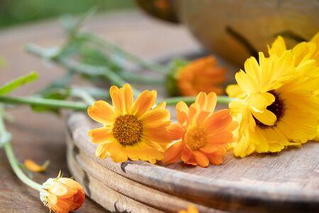 Fresh calendula flowers on a table