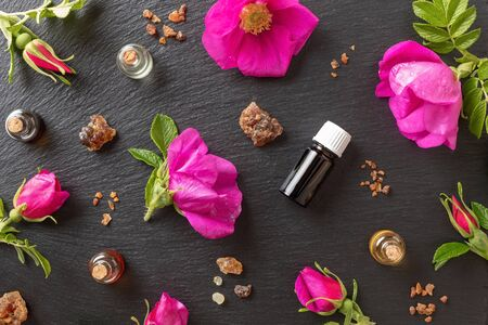 Bottles of essential oil with myrrh, frankincense and Rugosa rose flowers on a dark background, top view 版權商用圖片