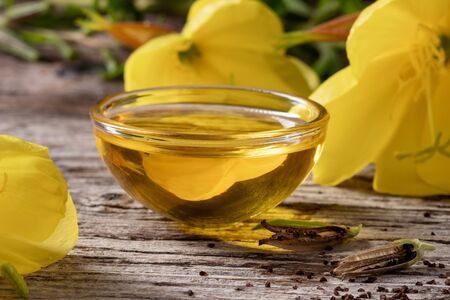 Evening primrose oil, seeds and flowers
