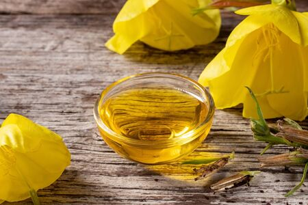 A bowl of evening primrose oil with fresh blooming plant and seeds