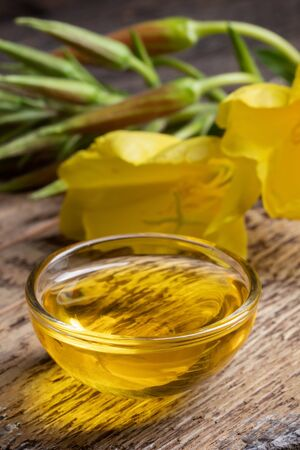 A bowl of evening primrose oil with fresh blooming plant